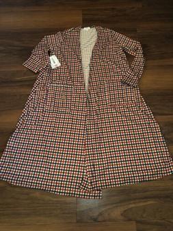 Lularoe Sarah Duster Long Open Cardigan Plaid Checkered Size