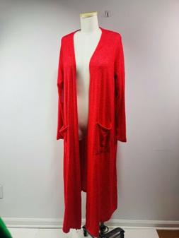 sarah long red cardigan duster sweater size