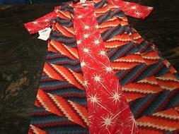 LuLaRoe SET Colorful Fun Women's Julia Starburst Dress M Joy