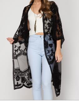 She & Sky Kimono Sleeve Crochet Lace Open Front Cardigan Bla