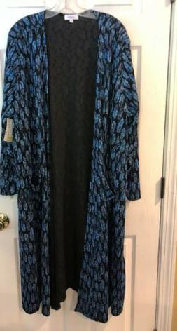 LULAROE SIZE 3 X BLACK /BLUE PRINT FEATHER  SARAH Cardigan D