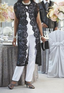 size 8 Black/White Lace Duster Pant Set Suit 3-Piece by Ashr