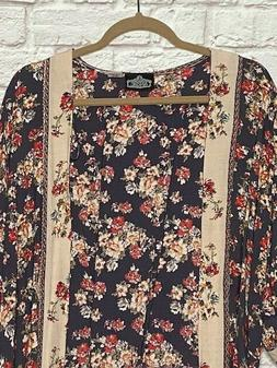 Small/Medium/Large/ XL New Pink Gray Floral Roses Kimono Jac