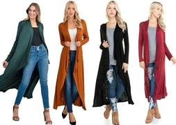 Women's Waterfall Cardigan Soft Knit Maxi Duster Long Sleeve
