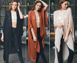 Women's Solid Long Kimono Duster Cardigan Fringe Open Front
