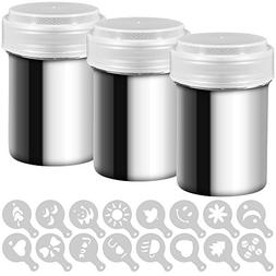 3 Pack Stainless Steel Powder Shaker, Coffee Cocoa Dredges w