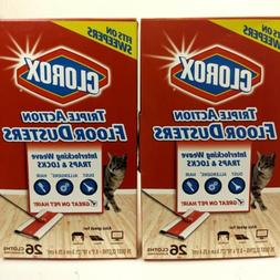 Clorox Triple Action Floor Dusters 2 Boxes 26 Wipes Each, 54