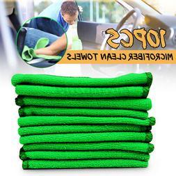 US 10Pcs Green Microfibre Clean Auto Car Detailing Soft Clot