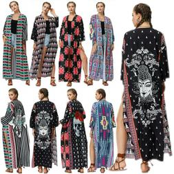 Women's Floral Boho Holiday Long Maxi Dress Duster Cardigans