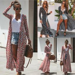US Women's Floral Boho Holiday Long Maxi Dress Duster Cardig