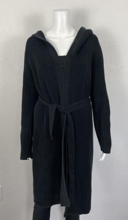 Vintage J Crew Black Belt Hood Ribbed Chunky Long Cardigan S