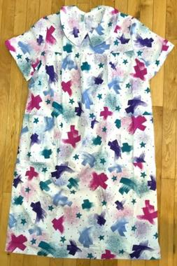 VTG BECO Open Snap Back Nightgown Colorful Duster Sz M Home