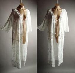 White Embroider Crochet Bohemian Long Maxi Caftan Cover Up D