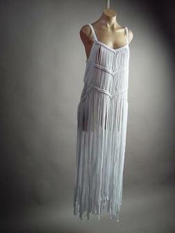 White Fringe Tribal Boho Druid Goddess Burning Man Long Maxi