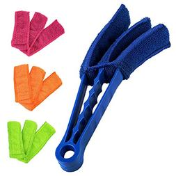 NEW Window Blind Brush Dust Cleaner with 4 Sleeves Multi-fun