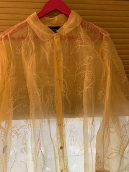 Dana Buchman Woman Embroidered Silk Duster, Pale Yellow/shee