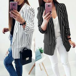 Woman Ladies Long-Sleeve Striped Stylish Duster Blazer Jacke
