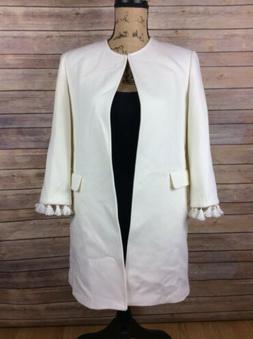 Zara Woman Size Small White Open Front Jacket Coat Tassel Sl
