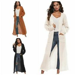 Women Full Length Maxi Cardigan Duster Long Sleeve Open Fron