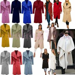 Women Italian Long Duster Jacket Ladies French Belted Trench