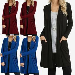 Women's Cardigan Duster Long Sweater Flyaway Open Front Long