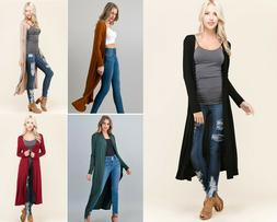 Women's Long Maxi Cardigan Duster Soft Knit Open Front Solid