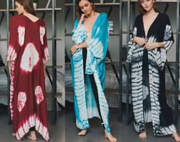 Women's Tie Dye Long Maxi Duster Wrap Cardigan Kimono Jacket
