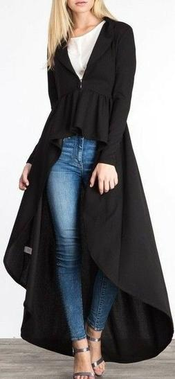 Womens Black Duster Full Floor Length High Low Peplum Jacket