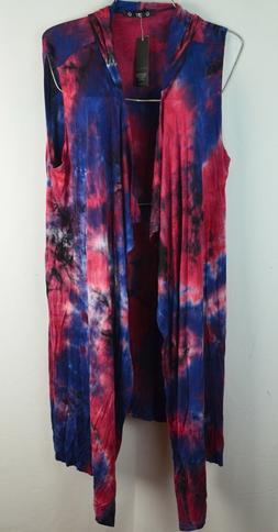 Womens Duster Cardigan Vest Blue Pink Tie Dye Open Hooded Bo