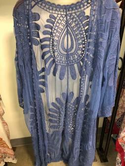womens Fashion lace Beach  cover up long duster blue one siz