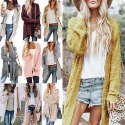 Womens Long Sleeve Knitted Cardigan Ladies Casual Chunky Dus