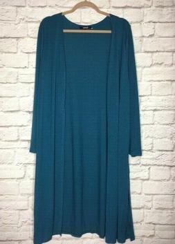 XL/1X/2X/3X  New Teal Blue Long Cardigan Sweater Coat Duster