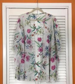 XL/1X/2X White Pink Yellow Blue Floral Kimono Jacket Top Top