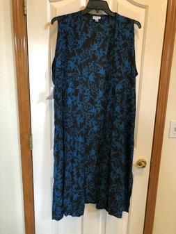 XL Lularoe Joy Duster length vest Black w/ Floral Design Blu