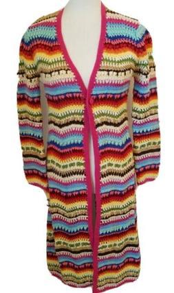 Boston Proper XS Rainbow Afghan Long Duster Cardigan Sweater