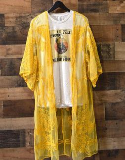 Yellow Lace Kimono Coverup Cardigan Duster